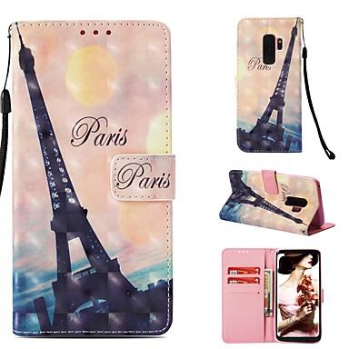 Θήκη Za Samsung Galaxy S9 Plus Novčanik / Utor za kartice / Zaokret Korice Eiffelov toranj Tvrdo PU koža
