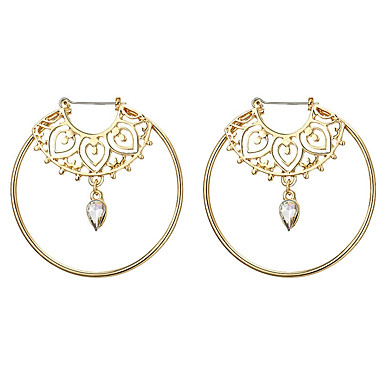 Women S Crystal Hoop Earrings Geometrical Casual Sporty Rock
