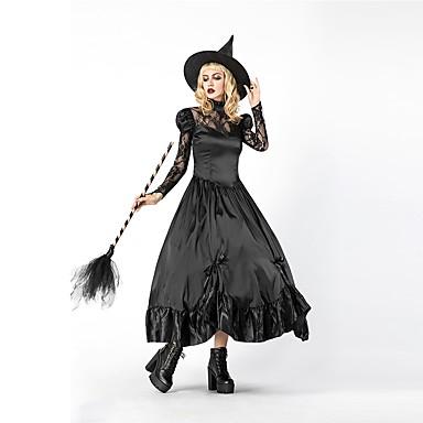 vještica Žene Odrasli Halloween Božić Božić Halloween Karneval Festival / Praznik Polyster odjeća Crn Jednobojni Božić