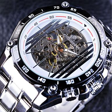 Недорогие Часы на металлическом ремешке-FORSINING Муж. Часы со скелетом Механические часы Кварцевый На каждый день С гравировкой Нержавеющая сталь Черный / Белый Аналоговый - Белый Черный / Крупный циферблат