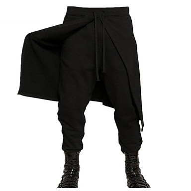 olcso Férfi nadrágok-Férfi Túlzott Napi Melegítőnadrágok Nadrág - Egyszínű Fekete XL XXL XXXL