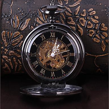 رخيصةأون ساعات الرجال-رجالي ساعة الهيكل ساعة جيب ياباني داخل الساعة ميكانيكي يدوي رقم روماني أسود ساعة كاجوال كوول مماثل عتيق كاجوال Steampunk - أسود