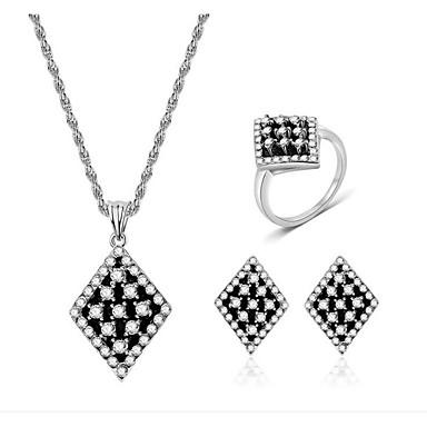 Žene Bijela Kubični Zirconia Svadbeni nakit Setovi Klasičan dame Moda Naušnice Jewelry Svijetlo crna Za Party Dnevno 1set