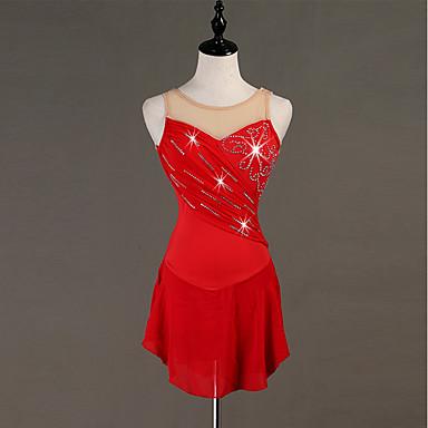 cheap Dancewear & Shoes-Figure Skating Rhinestone Bodysuit / Ice Skating Women's / Girls' Training Chinlon / Tulle Crystals / Rhinestones Sleeveless High Dress