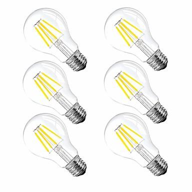 6kom 4 W LED filament žarulje 120 lm E26 / E27 A60(A19) 4 LED zrnca Visokonaponski LED Zatamnjen Toplo bijelo 110-130 V / RoHs / FCC / VDE