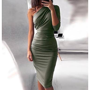 voordelige Midi Dresses-Dames Standaard Slank Bodycon Jurk - Effen, Geplooid Eén-schouder Tot de knie Hoge taille / Hoge taille  / Sexy