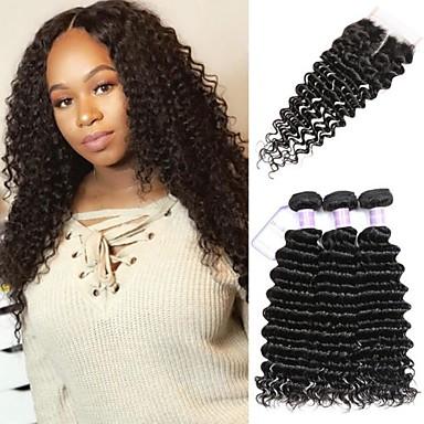 3 paketi s zatvaranjem Peruanska kosa Duboko Val Virgin kosa Netretirana  ljudske kose Ljudske kose plete Produžetak Bundle kose 8-20 inch Prirodna boja Isprepliće ljudske kose Jednostavan Sexy Lady