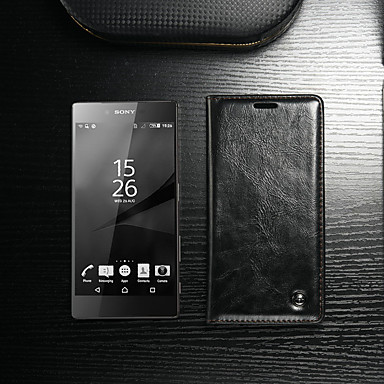 voordelige Hoesjes / covers voor Sony-hoesje Voor Sony Sony Xperia Z5 Portemonnee / Kaarthouder / met standaard Volledig hoesje Effen Hard PU-nahka