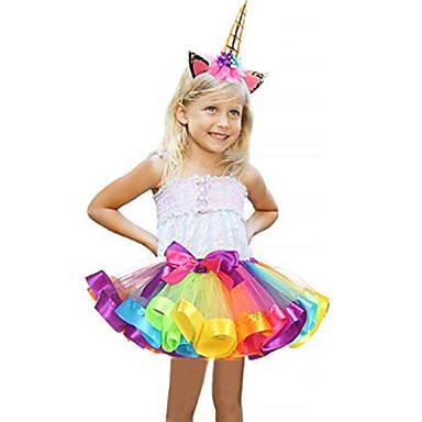 Karneval Unicorn Kostim Cvjetna djevojka haljina Dječji Djevojčice Line-Slip Halloween Halloween Karneval Maškare Festival / Praznik Til Polyster Ljubičasta Plava / purpurna boja / Red Ženska
