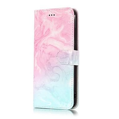 Недорогие Чехлы и кейсы для LG-Кейс для Назначение LG LG V30 / LG Stylo 4 / LG K10 2018 Кошелек / Бумажник для карт / со стендом Чехол Мрамор Твердый Кожа PU