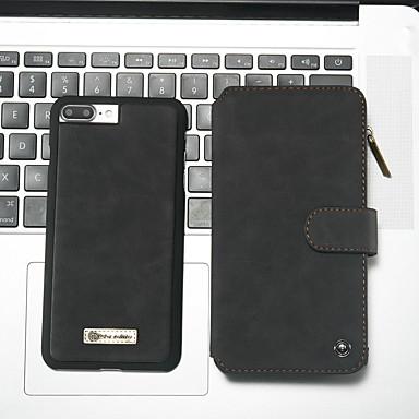 voordelige iPhone-hoesjes-hoesje Voor Apple iPhone 8 Plus / iPhone 7 Plus Portemonnee / Kaarthouder / met standaard Volledig hoesje Effen Hard PU-nahka