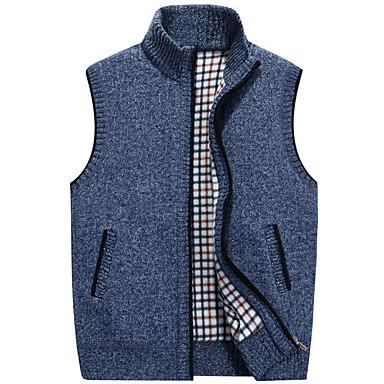 رخيصةأون سترات و كنزات رجالي-بالغين M / L / XL رمادي فاتح / أزرق / أحمر مرتفعة الخريف بوليستر, سترة الطائر صدرية Vest عادية عادي بدون كم لون سادة أساسي مناسب للبس اليومي رجالي