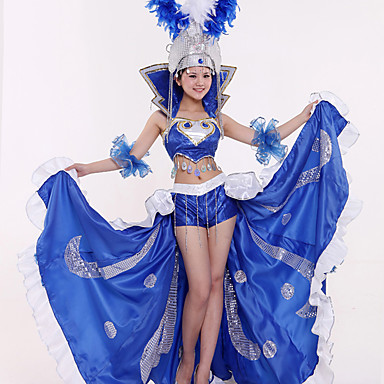 Karneval Španjolka Odrasli Žene Šljokice Flamenko Halloween Kostim Samba Headdress Za Šljokice Polyster Šljokice Halloween Karneval Maškare Suknje Top Šeširi