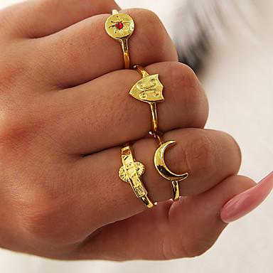 Žene Prstenasti set Midi prsten Prsten za više prstiju Kubični Zirconia 4kom Zlato Umjetno drago kamenje Legura Oblik C dame Jednostavan Jedinstven dizajn Dar Dnevno Jewelry Retro Polumjesec Cool