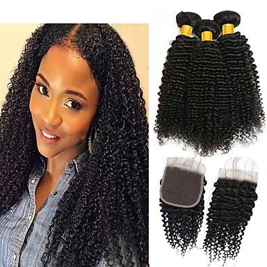 3 paketi s zatvaranjem Kinky Curly Virgin kosa Netretirana  ljudske kose Ljudske kose plete Bundle kose Jedan Pack Solution 8-20 inch Prirodna boja Isprepliće ljudske kose Novi Dolazak Cool Moda