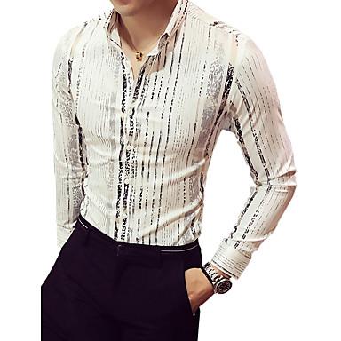 رخيصةأون قمصان رجالي-رجالي مناسب للحفلات / نادي طباعة قطن قميص, مخطط ياقة كلاسيكية نحيل / كم طويل