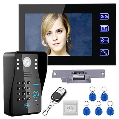 olcso Beléptető rendszerek-vezetékes 7 hüvelykes kihangosító egy-egy videó ajtótelefon-csengő 960 * 480 kaputelefon rendszer elektromos sztrájk zár vezeték nélküli távirányító nyitó távirányító a beléptető rendszerhez