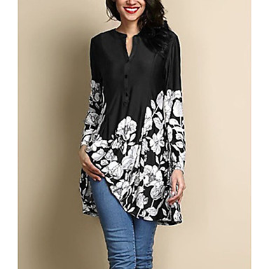 Women's Daily Plus Size Blouse - Floral Navy Blue