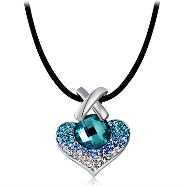 Žene Plav Kristal Ogrlice s privjeskom Klasičan Srce Romantični slatko Moda Imitacija dijamanta Plava 43 cm Ogrlice Jewelry 1pc Za Zabava / večer Dnevno