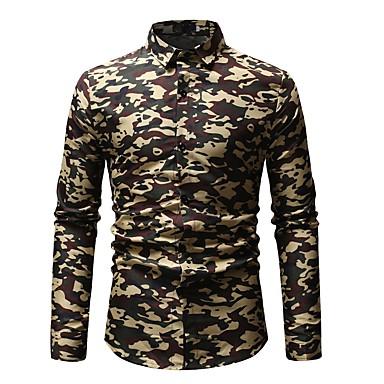 Majica Muškarci - Osnovni Dnevno Pamuk Color block / kamuflaža Print Plava / Dugih rukava