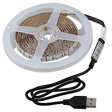2m Setovi svjetala 60 LED diode SMD5050 1 x prekidač za prigušivanje RGB Vodootporno / Cuttable / Pogodno za vozila 5 V 1set