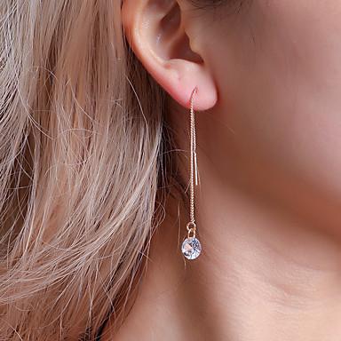 Žene Kubični Zirconia Viseće naušnice Klasičan Long dame Jednostavan Klasik Korejski Kristal Kubični Zirconia Naušnice Jewelry Zlato / Pink Za Izlasci Rad 1 par