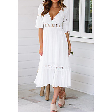 cheap White and Black Dresses-Women's Swing Dress - Half Sleeve Solid Colored Summer Spring & Summer V Neck Beach Flare Cuff Sleeve 2020 White S M L XL / Sexy