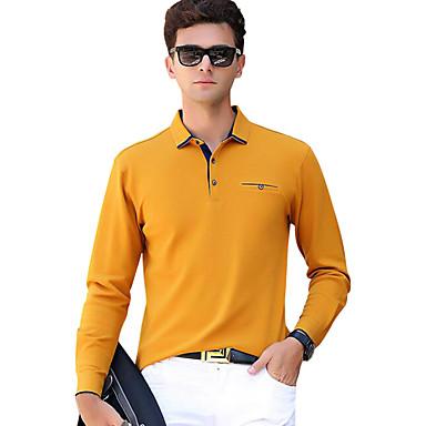Недорогие Мужская мода-Муж. Классический Polo Хлопок, Рубашечный воротник Тонкие Активный Однотонный Серый / Длинный рукав