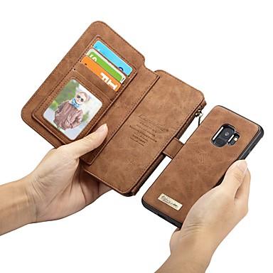 رخيصةأون حافظات / جرابات هواتف جالكسي S-غطاء من أجل Samsung Galaxy S9 / S9 Plus / S8 Plus محفظة / حامل البطاقات / ضد الصدمات غطاء كامل للجسم لون سادة قاسي جلد أصلي