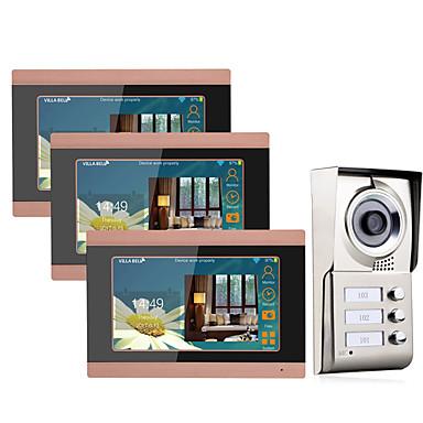olcso Beléptető rendszerek-MOUNTAINONE 3 Apartments Wifi Video Door Phone Vezeték nélküli / Kábel Fényképezte / Felvétel / Társasházi videó kaputelefon 7 hüvelyk