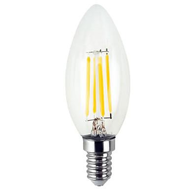 YWXLIGHT® 1pc 4 W LED svjećice LED filament žarulje 300-400 lm E12 C35 4 LED zrnca SMD Kreativan Toplo bijelo Hladno bijelo 110-130 V