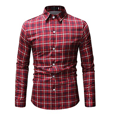 Majica Muškarci - Osnovni Dnevno Pamuk Prugasti uzorak / Geometrijski oblici / Color block Print Red / Dugih rukava