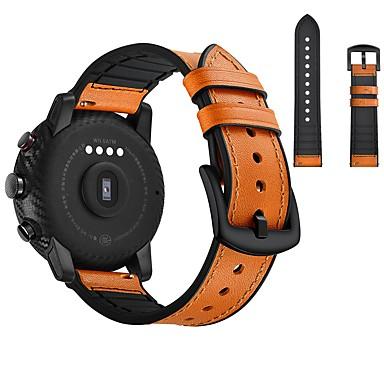 voordelige Horlogebandjes voor Samsung-Horlogeband voor Huami Amazfit Bip Younth Watch / Samsung Galaxy Watch 46 Samsung Galaxy Sportband / Klassieke gesp Echt leer Polsband