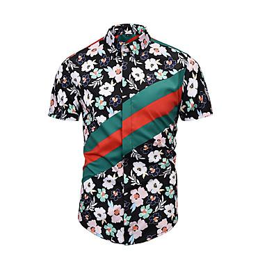 Majica Muškarci - Ulični šik Dnevno Cvjetni print Crn L / Kratkih rukava