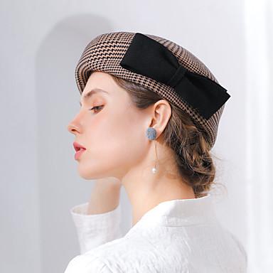 Elizabeta Čudesna gđa. Maisel Žene Odrasli dame Retro / vintage Cloche Hat šešir Sive boje Kava Plaid / Check Mašna Vuna Šeširi Lolita Pribor