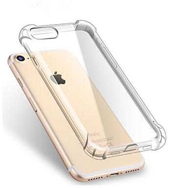 Недорогие Кейсы для iPhone 7-Кейс для Назначение Apple iPhone X / iPhone 8 Pluss / iPhone 8 Защита от удара / Прозрачный Кейс на заднюю панель Однотонный Мягкий ТПУ