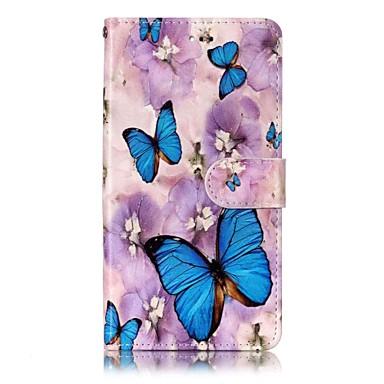 رخيصةأون LG أغطية / كفرات-غطاء من أجل LG LG V30 / LG Stylo 4 / LG K10 2018 محفظة / حامل البطاقات / مع حامل غطاء كامل للجسم فراشة قاسي جلد PU