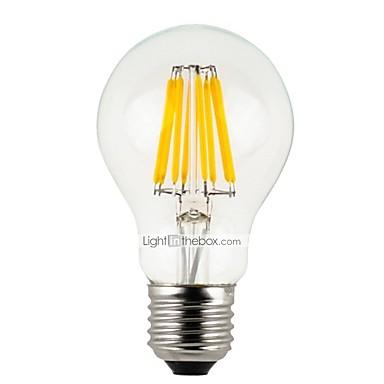 6kom 4 W LED filament žarulje 300 lm E26 / E27 A60(A19) 4 LED zrnca Visokonaponski LED Zatamnjen Toplo bijelo / RoHs / FCC / VDE