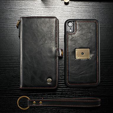 voordelige iPhone-hoesjes-hoesje Voor Apple iPhone XR Portemonnee / Kaarthouder / Flip Volledig hoesje Effen Hard PU-nahka