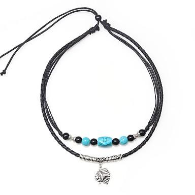 Muškarci Plav Onyx Ogrlice s privjeskom Vintage ogrlica Gyöngyök Umjetnički Jednostavan Vintage Koža Legura Crn 45 cm Ogrlice Jewelry 1pc Za Dar Izlasci