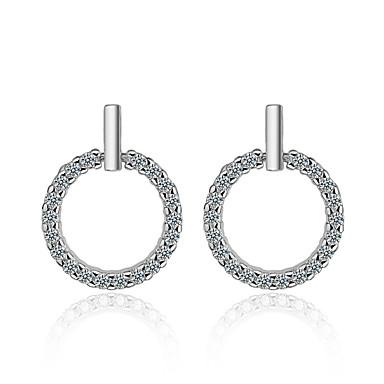 Bijela Bez šavova Naušnica - Kubični Zirconia, S925 Sterling Silver Dijamant Simple Style, slatko, Elegantno Pink Za Party Dar Žene / 1 par