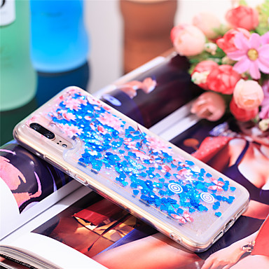 Θήκη Za Huawei Huawei P20 Otporno na trešnju / Šljokice Stražnja maska Šljokice / Cvijet Mekano TPU