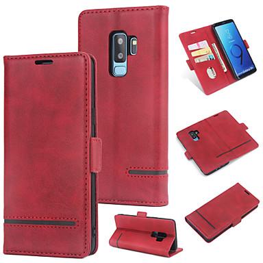 Θήκη Za Samsung Galaxy S9 Plus Novčanik / Utor za kartice / Zaokret Stražnja maska Jednobojni Tvrdo PU koža