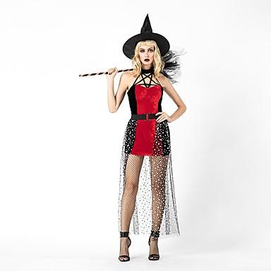 vještica Žene Odrasli Halloween Božić Božić Halloween Karneval Festival / Praznik Polyster odjeća Red+Black Jednobojni Božić