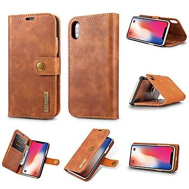 Недорогие Кейсы для iPhone-Кейс для Назначение Apple iPhone XS / iPhone XR / iPhone XS Max Бумажник для карт / Защита от удара / со стендом Чехол Однотонный Твердый Настоящая кожа
