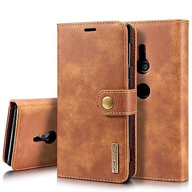Недорогие Чехлы и кейсы для Sony-Кейс для Назначение Sony Xperia XZ2 / Xperia XZ2 Compact / Sony Xperia XZ3 Бумажник для карт / Защита от удара / со стендом Чехол Однотонный Твердый Настоящая кожа