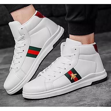 hesapli Ayakkabılar ve Çantalar-Erkek Ayakkabı PU Sonbahar Spor Ayakkabısı Günlük / Dış mekan için Siyah / Kırmzı / Beyaz ve Yeşil