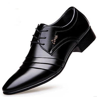cheap Shoes-Men's Leather Shoes Microfiber Spring &  Fall Oxfords Black
