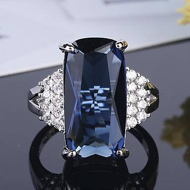 olcso Karikagyűrűk-Női Band Ring Kocka cirkónia 1db Kék S925 ezüst Ötvözet Circle Shape Klasszikus Vintage Elegáns Esküvő Eljegyzés Ékszerek Régies stílus Virág Szeretetreméltő