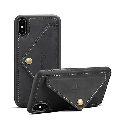 baratos Capinhas para iPhone-Capinha Para Apple iPhone XS / iPhone XR / iPhone XS Max Carteira / Porta-Cartão / Antichoque Capa traseira Sólido Rígida PU Leather